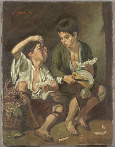 Enfants mangeant des pastèques et des raisins