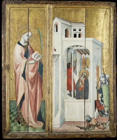 Retable de Thouzon: saint André fait éteindre un incendie par son disciple
