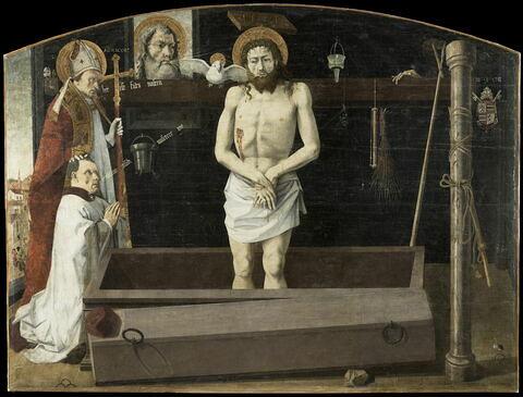 Retable de Boulbon. La Trinité avec le Christ de douleur, debout dans le tombeau, et saint Agricol lui présentant un donateur