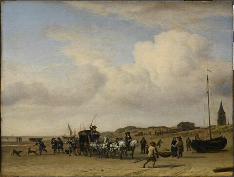 Noble Equipage (prince d'Orange?) cheminant sur la plage de Scheveningen