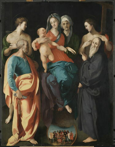 La Vierge à l'Enfant avec sainte Anne et quatre saints (Sébastien, Pierre, Benoît et le bon larron)