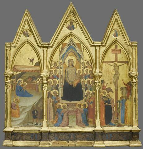 Triptyque fixe : au centre, La Vierge et l'Enfant entourés de vingt anges et de quatre saints (Jean Baptiste et Pierre d'une part, Paul et Laurent [?] de l'autre); à gauche, La Nativité ; à droite, La Crucifixion ; à l'intérieur des gâbles, médaillons polylobés contenant l'Ange de l'Annonciation, Dieu le Père, la Vierge de l'Annonciation