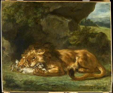 Lion dévorant un lapin