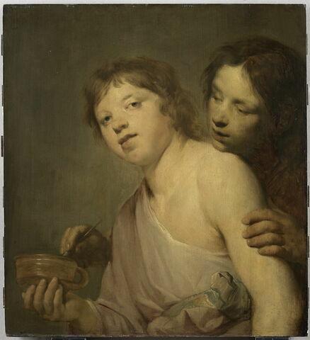 Jeunes gens s'apprêtant à souffler sur des bulles de savon. Allégorie de la Vanité, dit autrefois La Leçon de tatouage