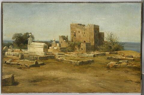 Vue d'un cimetière et d'un fort à Beyrouth
