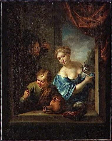 Couple et enfant apparaissant à une fenêtre