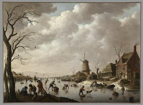 Patineurs sur un canal glacé