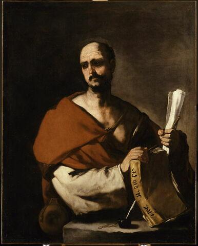 Philosophe tenant un livre et un rouleau de papier