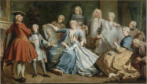 Madame Mercier entourée de sa famille.
