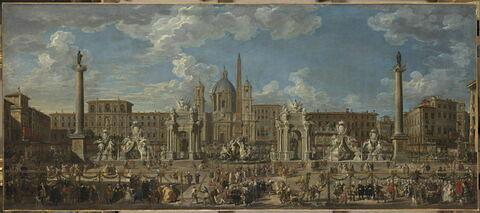Préparation du feu d'artifice et de la décoration de la fête donnée sur la place Navone, à Rome, le 30 novembre 1729, à l'occasion de la naissance du Dauphin