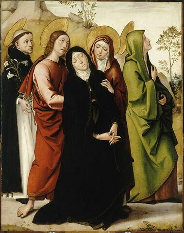 La Vierge de douleur, saint Jean, deux saintes femmes et saint Dominique de Guzmán