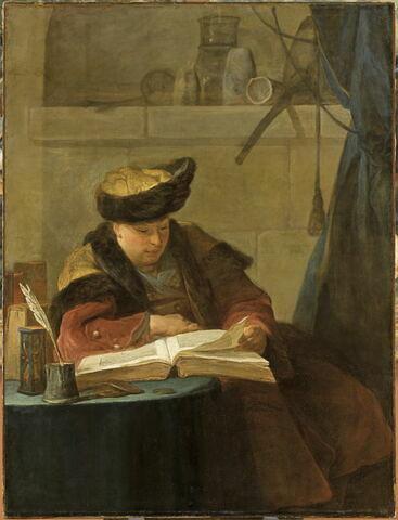 Un Chimiste dans son laboratoire, dit Le Souffleur, et encore Un Philosophe occupé de sa lecture. Portrait du peintre Joseph Aved (1702-0766), ami de l'artsite.