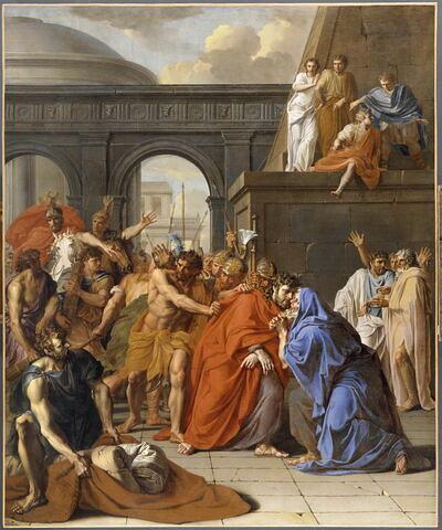 Saint Jacques le Majeur, conduit au supplice, guérit un paralytique et embrasse son accusateur