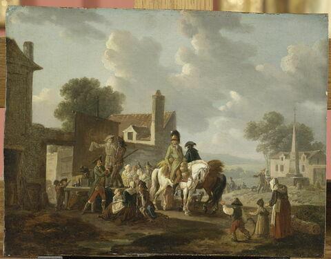 Villageois et cavaliers regardant la pantomime.