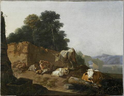 Paysage avec berger et bestiaux auprès d'un pont en ruine