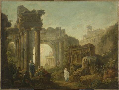 Paysage de fantaisie avec des ruines romaines inspirées de l'arc de Titus