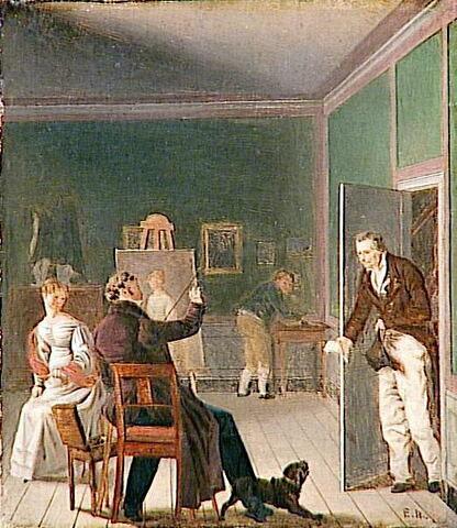 Un peintre dérangé dans son travail, ou Jens Peter Tønder (1773 -1836), homme de lettres danois, visitant l'atelier d'un peintre pour vendre sa gazette