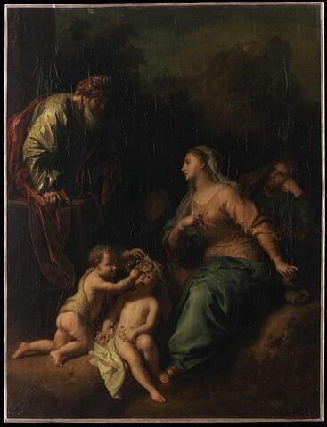 La Sainte Famille avec les parents de la Vierge (sainte Anne et saint Joachim) et le petit saint Jean Baptiste enfant
