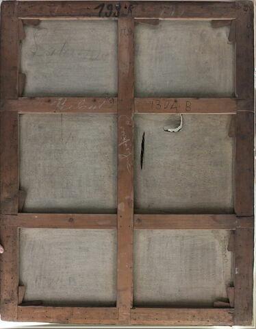 dos, verso, revers, arrière ; vue d'ensemble ; vue sans cadre © 2013 Musée du Louvre / Peintures