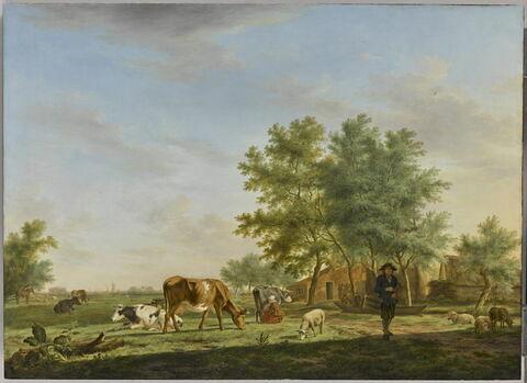 Vue des environs de Leyde, avec ferme et animaux au pâturage