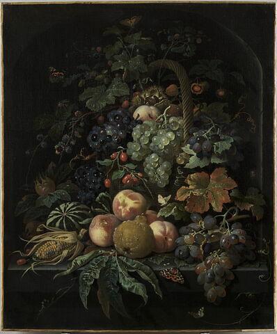 Fruits, corbeille, insectes et papillons sur fond de niche en pierre