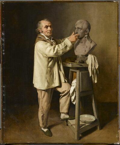 Antoine Houdon dans son atelier modelant le buste de Bonaparte