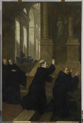 Saint Benoît flagellant l'un de ses moines