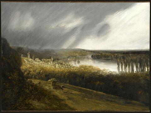 Vue de la Seine avec une diligence