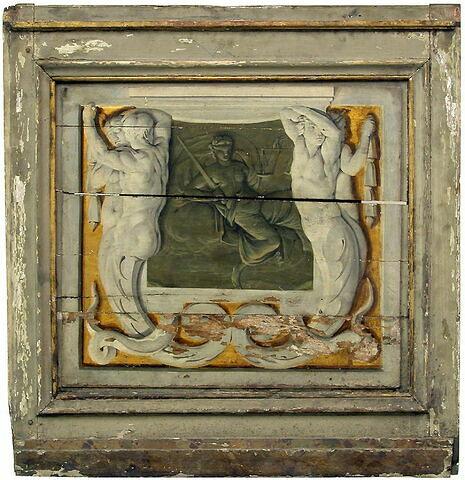 Atlantes encadrant un motif imitant un bas-relief de bronze