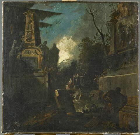 Paysage fantastique avec des ruines