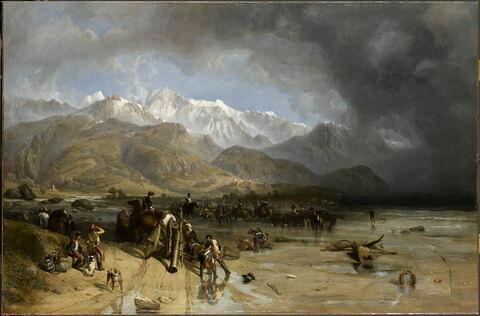 Les Troupes françaises franchissant la Margra. Sarzana et les montagnes de Carrare dans le lointain, en 1796