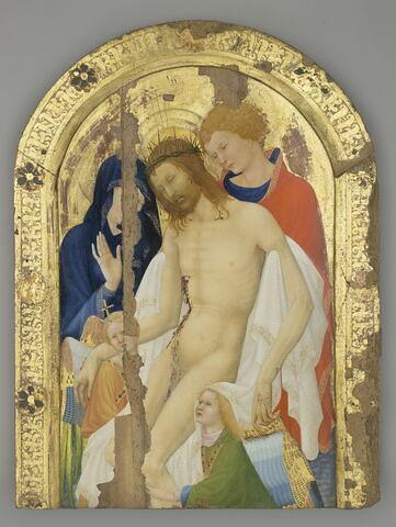 Le Christ de pitié soutenu par saint Jean l'Evangéliste en présence de la Vierge et de deux anges.