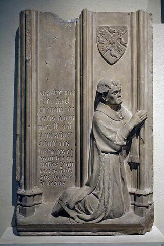 Fragment de clôture de chœur : Pierre de Fayel, sous-diacre, chanoine de Paris (+1344)