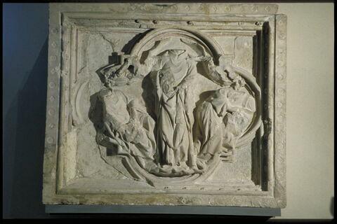 Saint Denis portant sa tête au lieu de sa sépulture, saint Rustique et Saint Eleuthère