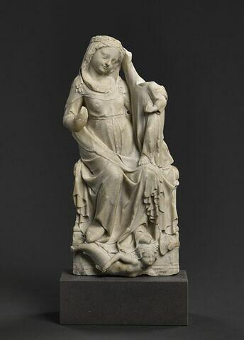 Vierge assise couronnée par l'Enfant et foulant une sirène
