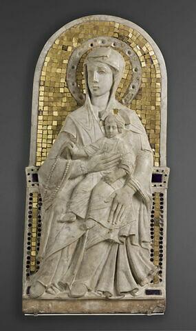 La Vierge trônant et l'Enfant tenant un rosaire