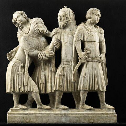 Groupe de personnages en costume civil (scène de réconciliation ?)