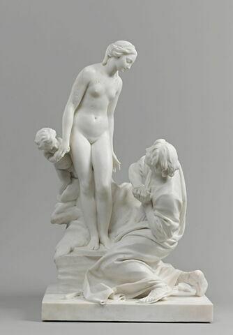 Pygmalion au pied de sa statue qui s'anime
