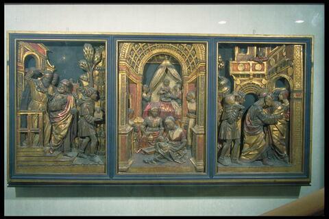 Scènes de la vie de sainte Anne : Joachim chasse du Temple ; La Naissance de la Vierge ; La rencontre d'Anne et de Joachim à la Porte dorée