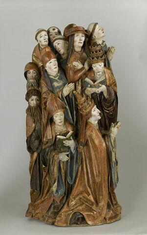 Deux papes, un cardinal, un évêque, un chanoine et sept moines en prière