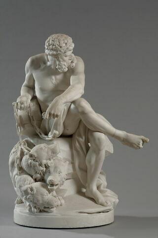 Pluton, dieu des Enfers tenant Cerbère enchaîné