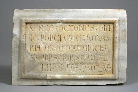 Épitaphe de Poncia de Aqueria (+ 1174 ou 1184)