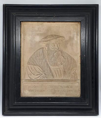 Bas-relief rectangulaire encadré : buste de Louis, comte palatin du Rhin, duc de Bavière
