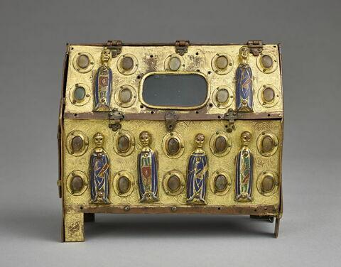 Châsse : figures d'apôtres et de saints