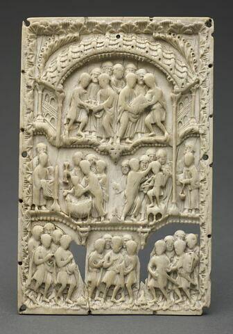 Plaque de reliure : Scènes liturgiques.