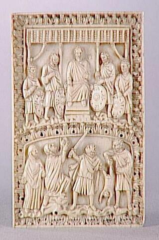 Plaque de reliure : Jugement de Salomon.