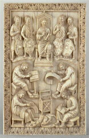 Plaque de reliure : David dictant les Psaumes.