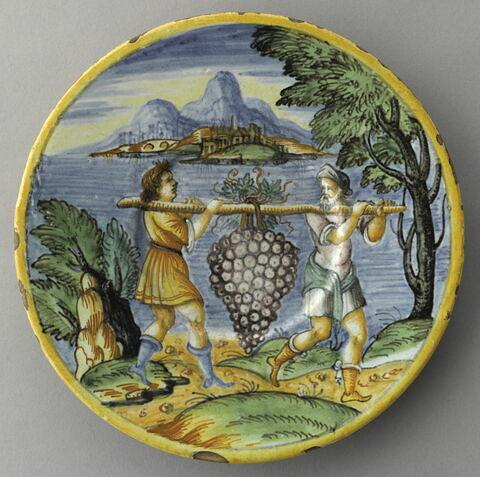 Assiette : la grappe de Chanaan. La terre promise   Lyon, début XVIIème siècle.