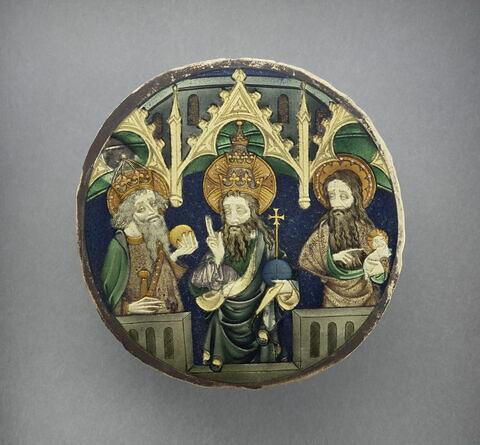 Valve de miroir : Dieu le Père entre saint Jean-Baptiste et saint Charlemagne