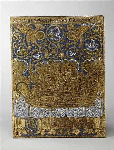 Plaque provenant d'un retable ou d'un frontal d'autel : Dormition de la Vierge.